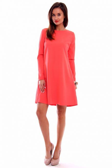 d1c6c9138e58 Elegantné šaty s dlhým rukávom CM510 koralové - Tentation.sk