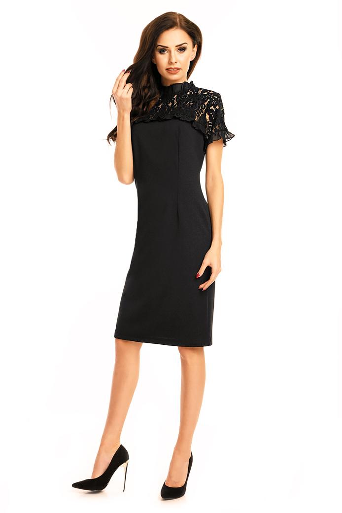 dámske šaty, elegantné šaty, koktejlové šaty, čipkované šaty, krátke čierne šaty, čierne čipkované šaty,šaty na svadbu,