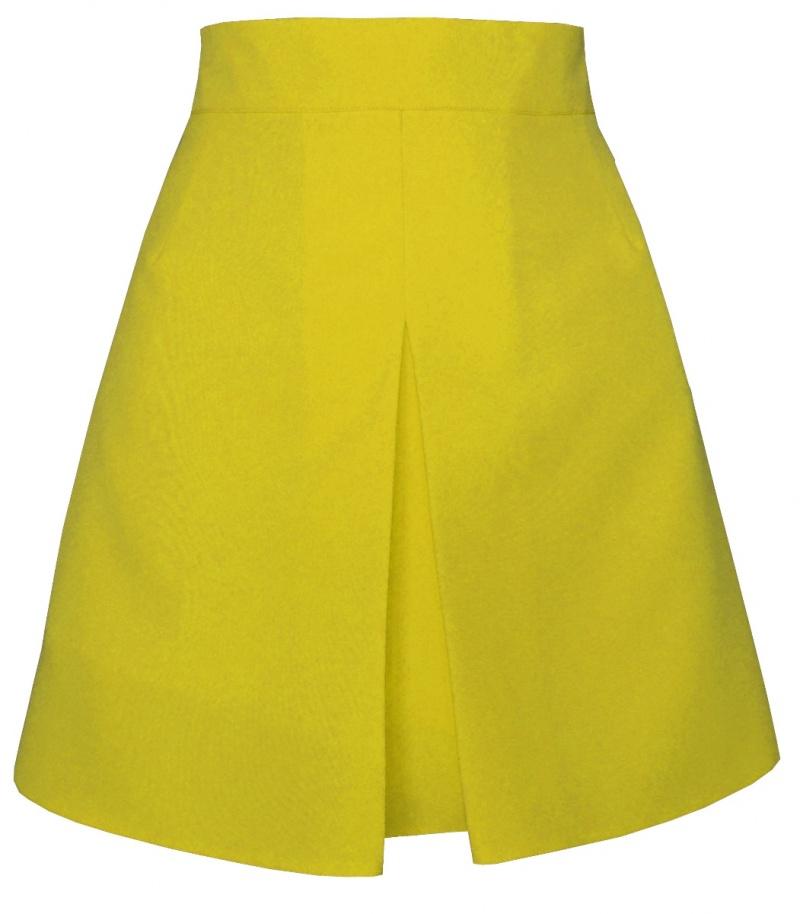 žltá áčková sukňa,áčková sukňa,áčkové sukne, sukňa v áčkovom strihu,sukne v áčkovom strihu, áčková minisukňa