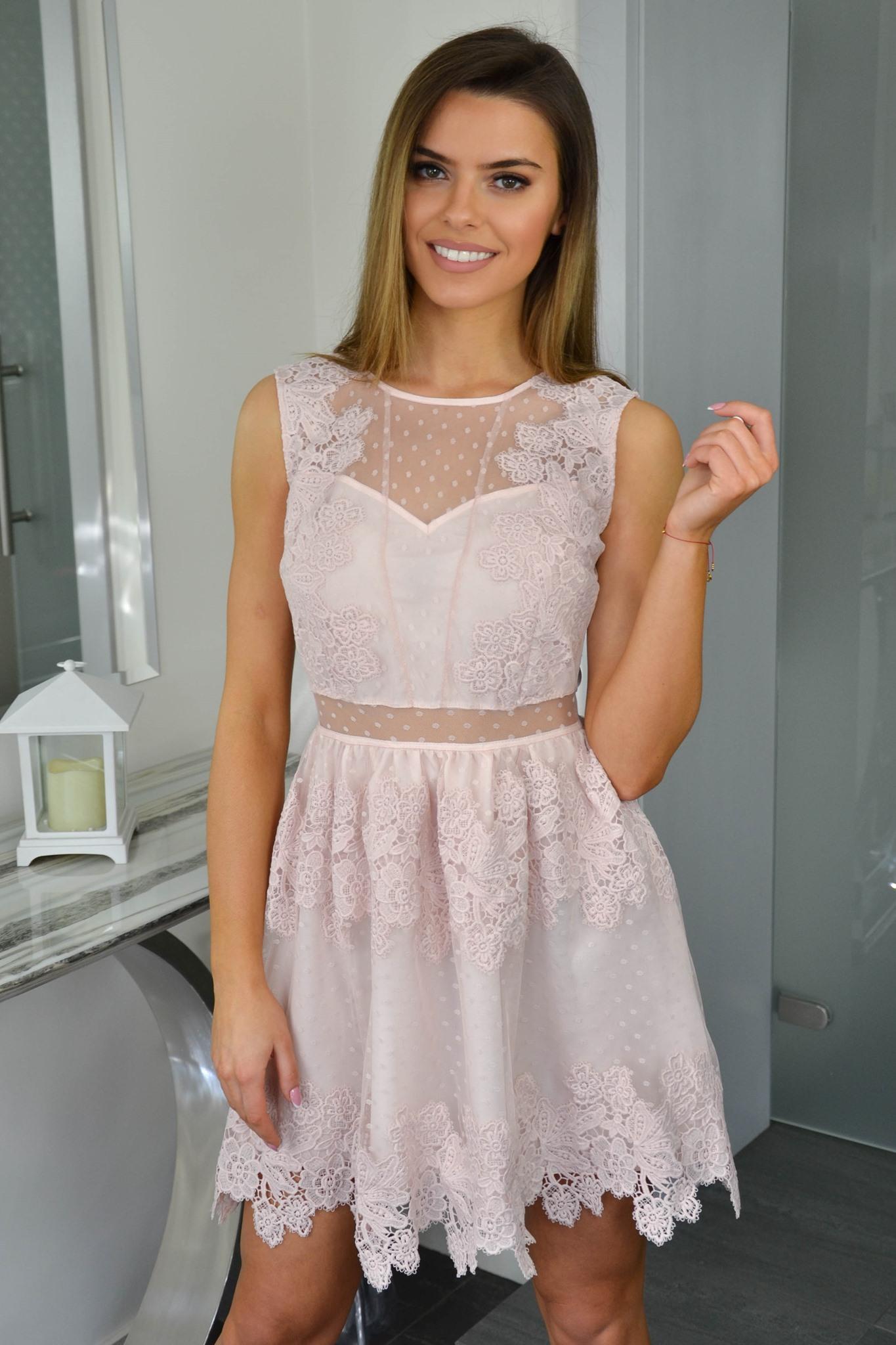 b5f00f99dc Dámske čipkované šaty 7456 ružové - Tentation.sk
