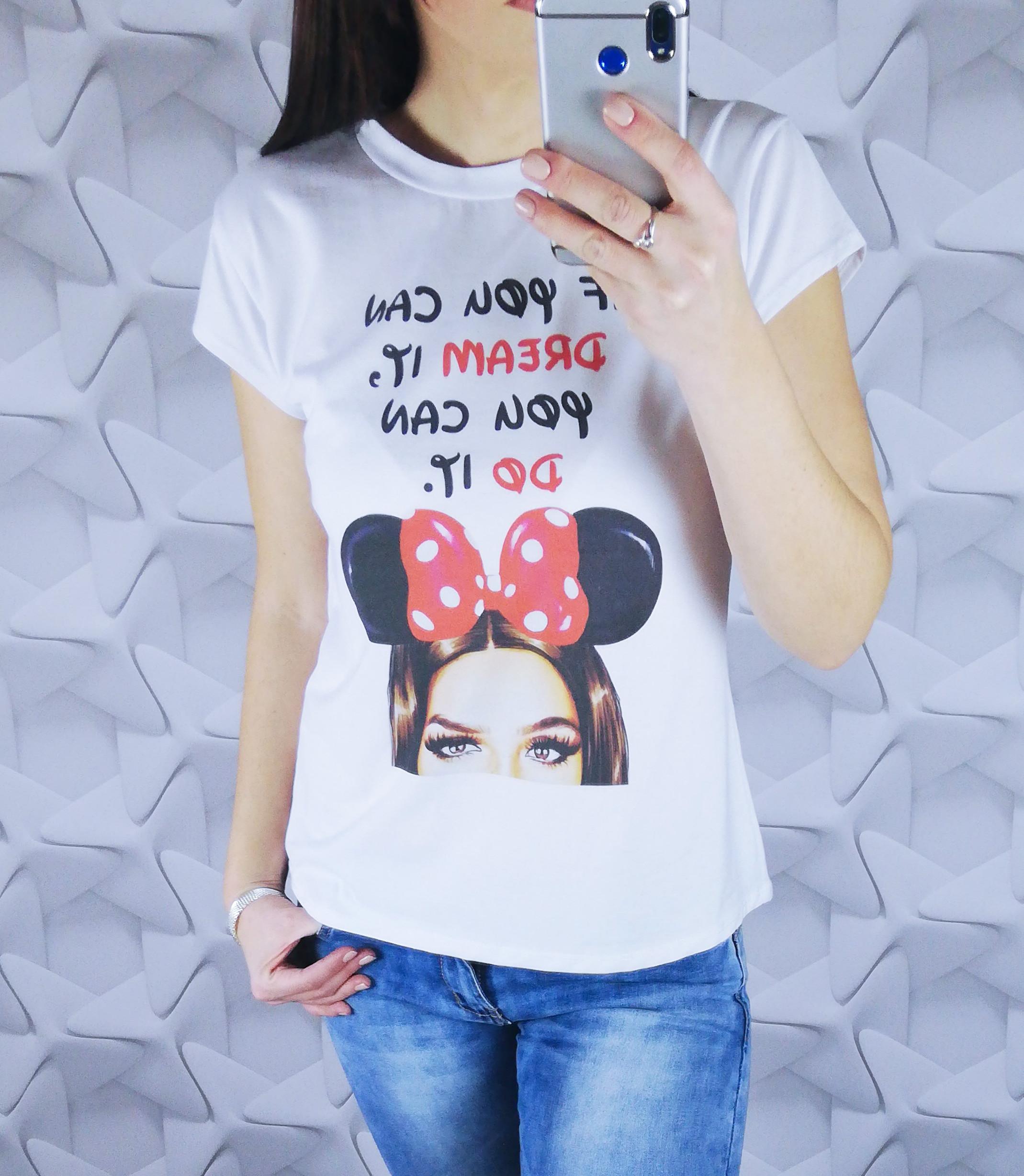 dámske tričko, damske tricko, damske tricko s potlacou, dámske tričko s potlačou, biele tricko s potlacou